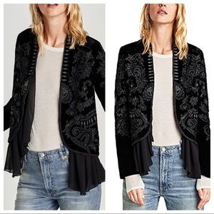 NWT Zara embroidered jacket sz xs balck